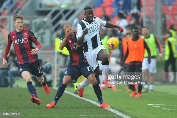 Stefano Okaka of Udinese Calcio vies with Danilo of Bologna FC during the Serie A match between Bologna FC and Udinese Calcio at Stadio Renato...