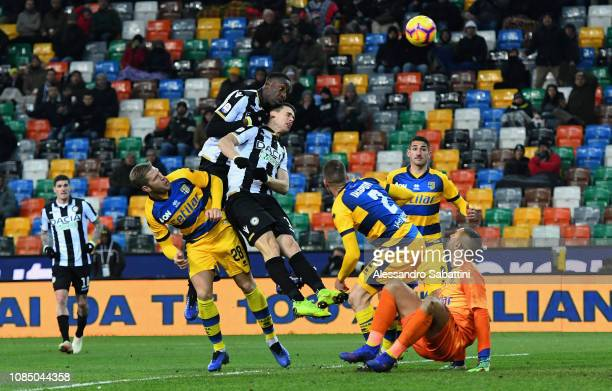 Stefano Okaka of Udinese scores the 11 goal during the Serie A match between Udinese and Parma Calcio at Stadio Friuli on January 19 2019 in Udine...