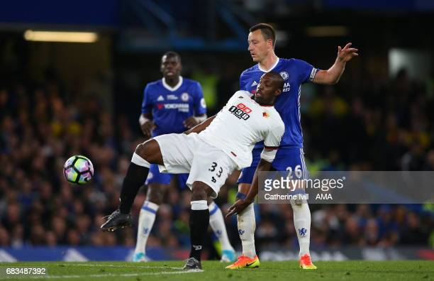 Stefano Okaka of Watford and John Terry of Chelsea during the Premier League match between Chelsea and Watford at Stamford Bridge on May 15 2017 in...