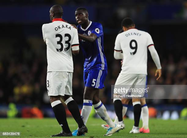 Stefano Okaka of Watford and Kurt Zouma of Chelsea exchange words during the Premier League match between Chelsea and Watford at Stamford Bridge on...