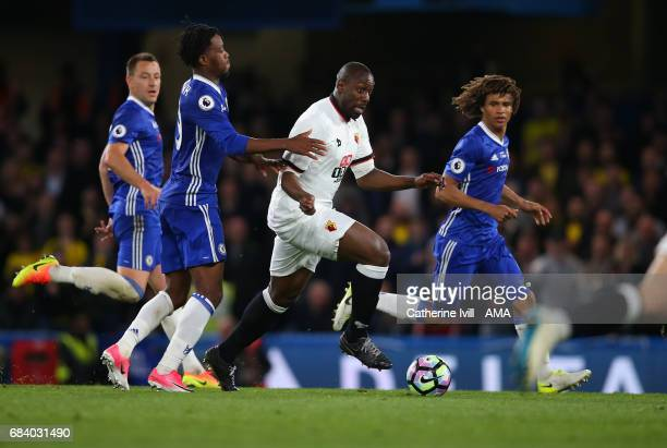 Stefano Okaka of Watford breaks through the Chelsea defence during the Premier League match between Chelsea and Watford at Stamford Bridge on May 15...