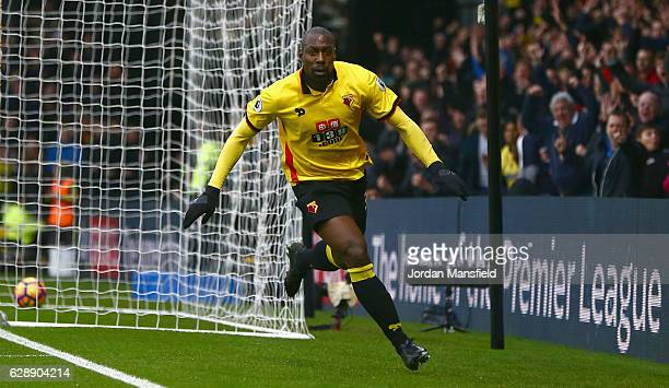 Stefano Okaka of Watford celebrates as he scores their first and equalising goal during the Premier League match between Watford and Everton at...