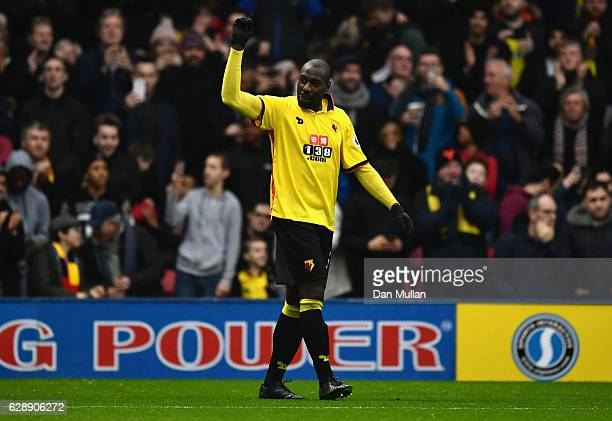 Stefano Okaka of Watford celebrates as he scores their third goal during the Premier League match between Watford and Everton at Vicarage Road on...