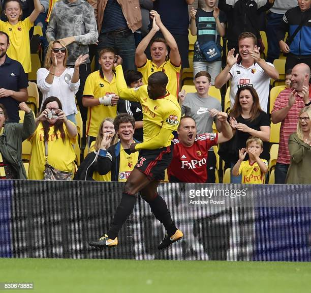 Stefano Okaka of Watford Celebrates during the Premier League match between Watford and Liverpool at Vicarage Road on August 12 2017 in Watford...