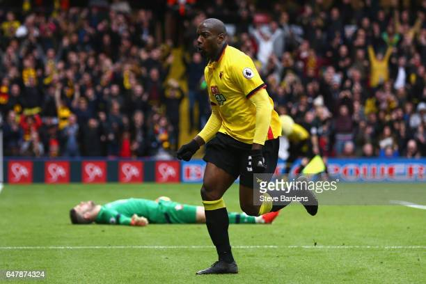Stefano Okaka of Watford celebrates scoring his sides second goal during the Premier League match between Watford and Southampton at Vicarage Road on...