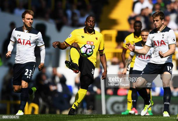 Stefano Okaka of Watford controls the ball during the Premier League match between Tottenham Hotspur and Watford at White Hart Lane on April 8 2017...