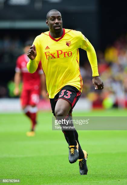 Stefano Okaka of Watford during the Premier League match between Watford and Liverpool at Vicarage Road on August 12 2017 in Watford England