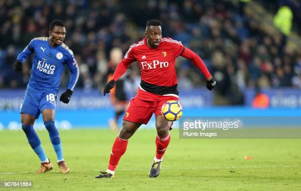 Stefano Okaka of Watford during the Premier League match between Leicester City and Watford at King Power Stadium on January 20th 2018 in Leicester...