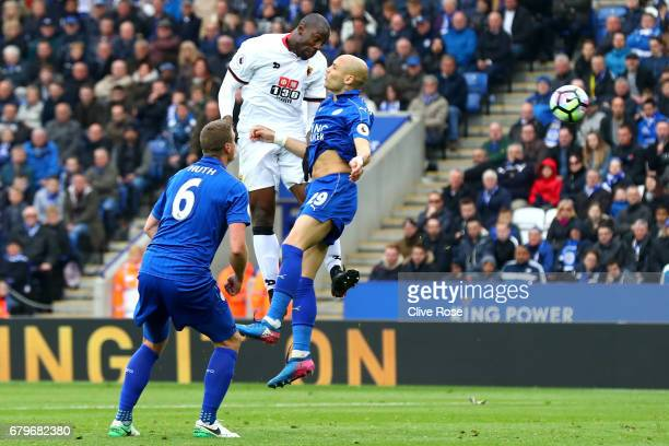 Stefano Okaka of Watford heads towards goal during the Premier League match between Leicester City and Watford at The King Power Stadium on May 6...