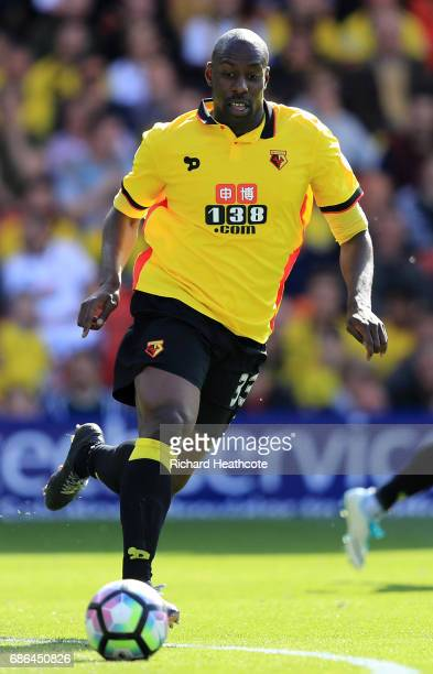 Stefano Okaka of Watford in action during the Premier League match between Watford and Manchester City at Vicarage Road on May 21 2017 in Watford...
