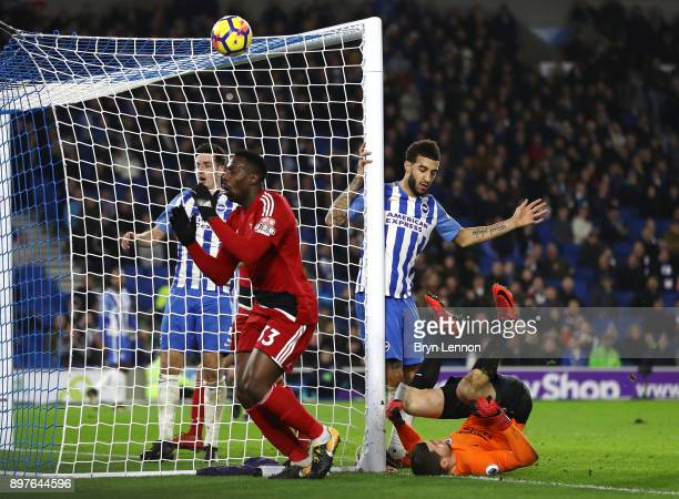Stefano Okaka of Watford reacts during the Premier League match between Brighton and Hove Albion and Watford at Amex Stadium on December 23 2017 in...
