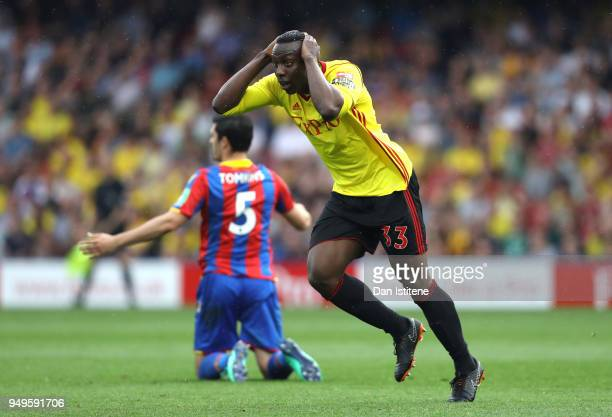 Stefano Okaka of Watford reacts during the Premier League match between Watford and Crystal Palace at Vicarage Road on April 21 2018 in Watford...