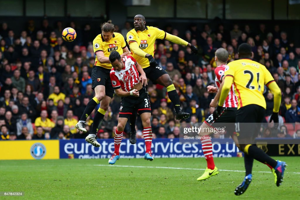 Stefano Okaka of Watford (R) scores his sides second goal during the Premier League match between Watford and Southampton at Vicarage Road on March 4, 2017 in Watford, England.
