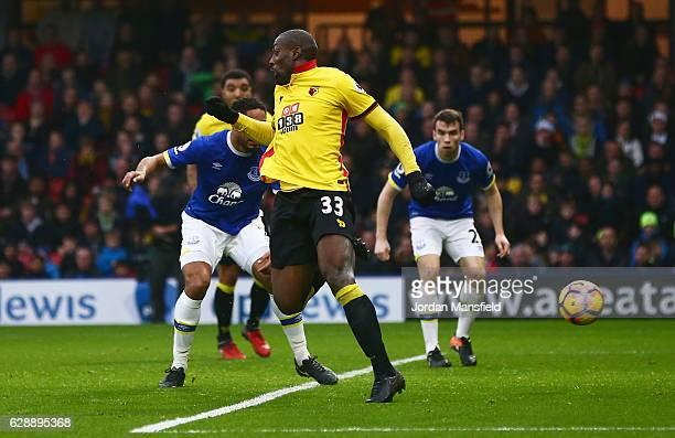 Stefano Okaka of Watford scores their first and equalising goal during the Premier League match between Watford and Everton at Vicarage Road on...