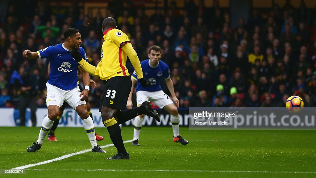 Stefano Okaka of Watford (33) scores their first and equalising goal during the Premier League match between Watford and Everton at Vicarage Road on December 10, 2016 in Watford, England.