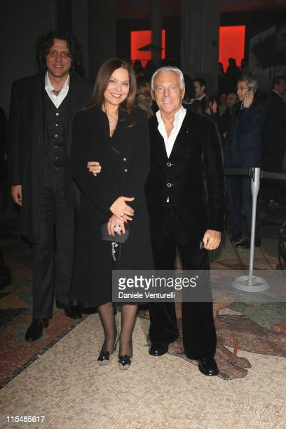 Stefano Piccolo Ornella Muti and Giorgio Armani during Milan Fashion Week Fall/Winter 2007 Armani After Party in Milan Italy