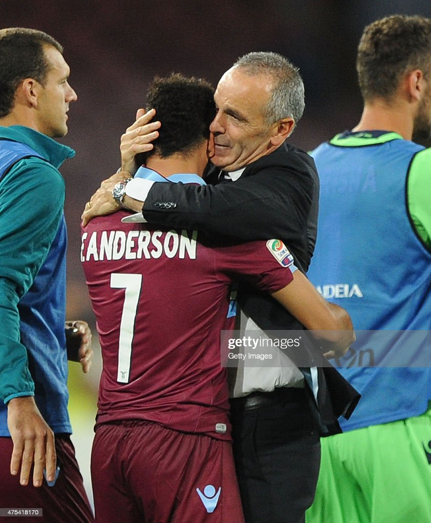 Stefano Pioli and Felipe Anderson of Lazio celebrate the victory after the Serie A match between SSC Napoli and SS Lazio at Stadio San Paolo on May 31, 2015 in Naples, Italy.