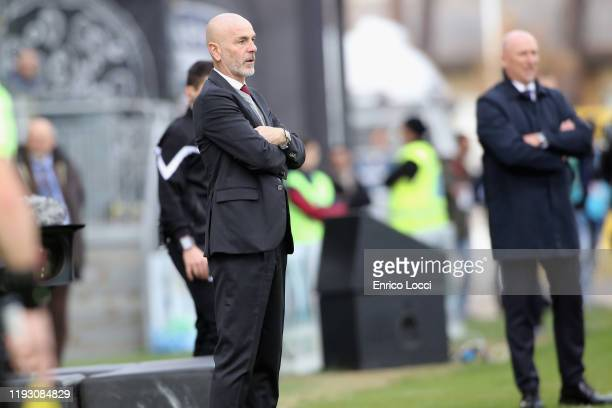 Stefano Pioli coach of Milan looks on during the Serie A match between Cagliari Calcio and AC Milan at Sardegna Arena on January 11 2020 in Cagliari...