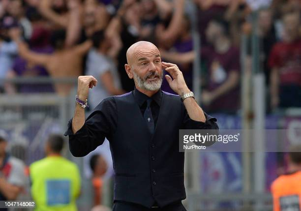 Stefano Pioli during the Italian Serie A football match between SS Lazio and Fiorentina at the Olympic Stadium in Rome on october 07 2018