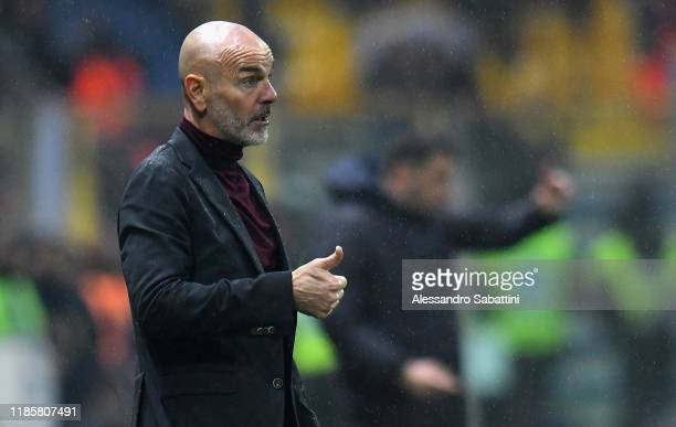 Stefano Pioli head coach of AC Milan gestures during the Serie A match between Parma Calcio and AC Milan at Stadio Ennio Tardini on December 1 2019...