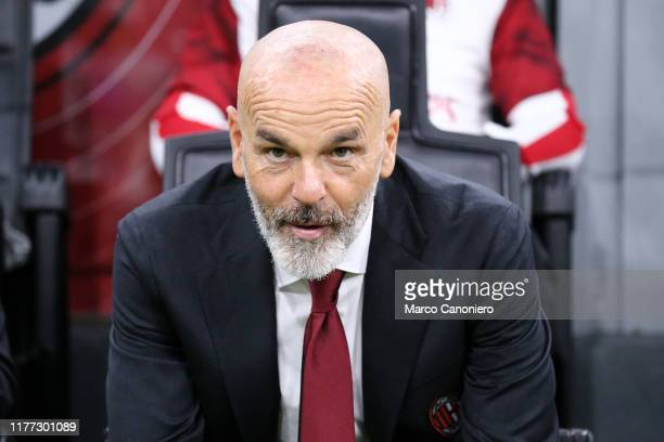Stefano Pioli, head coach of Ac Milan, looks on before the Serie A match between Ac Milan and Us Lecce. The match ends in a draw 2 - 2.