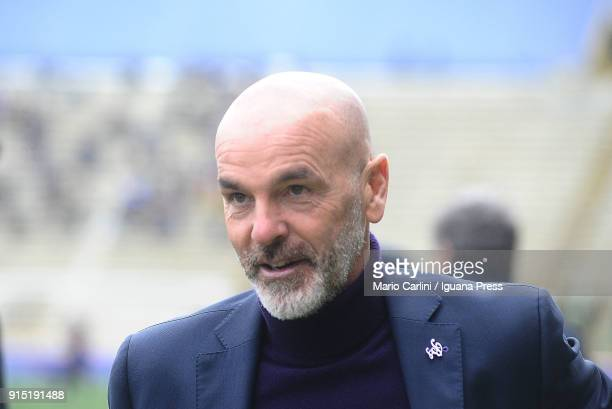 Stefano Pioli head coach of ACf Fiorentina looks on during the warm up prior the beginning of the serie A match between Bologna FC and ACF Fiorentina...