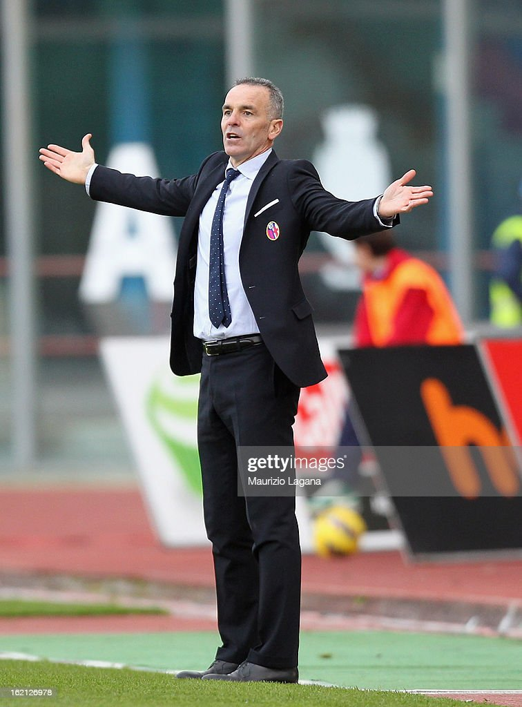 Stefano Pioli, head coach of Bologna during the Serie A match between Calcio Catania and Bologna FC at Stadio Angelo Massimino on February 17, 2013 in Catania, Italy.