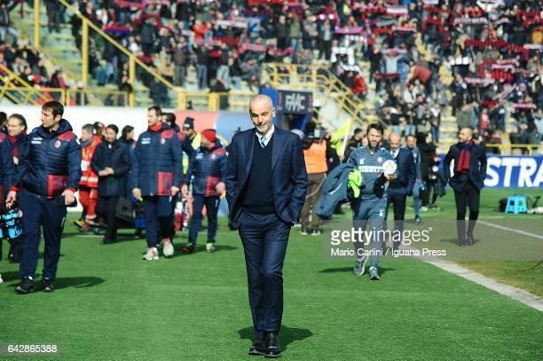 Stefano Pioli head coach of FC Internazionale looks on prior the beginning of the Serie A match between Bologna FC and FC Internazionale at Stadio...