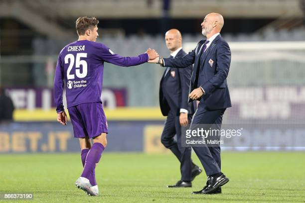Stefano Pioli manager and Federico Chiesa of ACF Fiorentina celebrates after winning the Serie A match between ACF Fiorentina and Torino FC at Stadio...