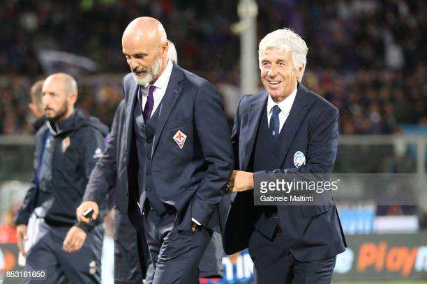 Stefano Pioli manager of ACF Fiorentina and Giampiero Gasperini manager of Atalanta BC during the Serie A match between FC Crotone and Benevento...