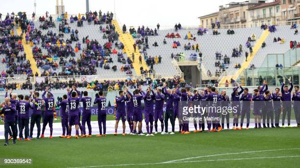 Stefano Pioli manager of ACF Fiorentina his staff and all the players of ACF Fiorentina pay homage to the captain Davide Astori wearing the shirt...