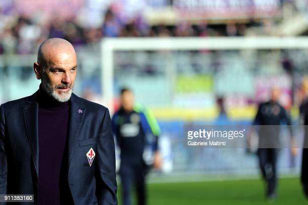 Stefano Pioli manager of ACF Fiorentina looks on during the serie A match between ACF Fiorentina and Hellas Verona FC at Stadio Artemio Franchi on...