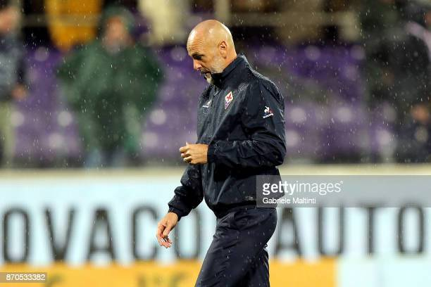 Stefano Pioli manager of ACF Fiorentina shows his dejection during the Serie A match between ACF Fiorentina and AS Roma at Stadio Artemio Franchi on...