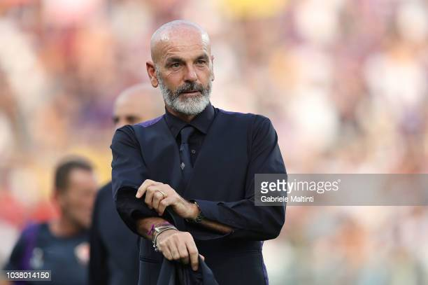 Stefano Pioli manager of AFC Fiorentina gestures during the Serie A match between ACF Fiorentina and SPAL at Stadio Artemio Franchi on September 22...