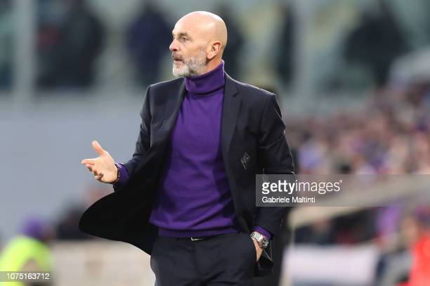Stefano Pioli manager of AFC Fiorentina gestures during the Serie A match between ACF Fiorentina and Parma FC at Stadio Artemio Franchi on December...