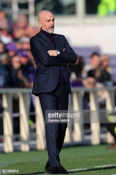 Stefano Pioli manager of AFC Fiorentina looks on during the serie A match between ACF Fiorentina and Hellas Verona FC at Stadio Artemio Franchi on...