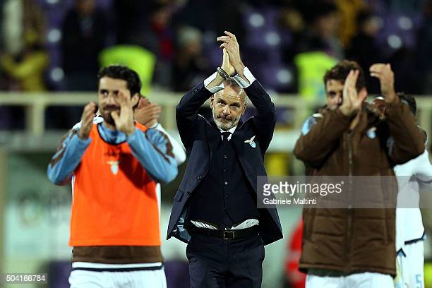 Stefano Pioli manager of SS Lazio celebrates the victory after the Serie A match between ACF Fiorentina and SS Lazio at Stadio Artemio Franchi on...