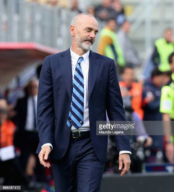 Stefano Pioli of Inter shows his dejection during the Serie A match between FC Crotone and FC Internazionale at Stadio Comunale Ezio Scida on April 9...