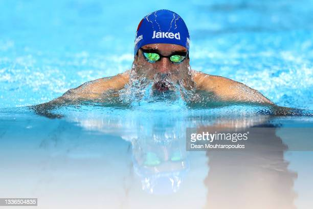 Stefano Raimondi of Team Italy competes in the Men's 100m Breaststroke - SB9 final on day 2 of the Tokyo 2020 Paralympic Games at the Tokyo Aquatics...