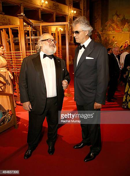 Stefano Ricci and Andrea Bocelli attend a formal dinner hosted by Stefano Ricci at The Teatro della Pergola during Celebrity Fight Night In Italy...