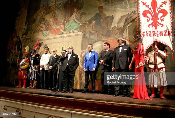 Stefano Ricci speaks onstage during a formal dinner hosted by Stefano Ricci at The Teatro della Pergola during Celebrity Fight Night In Italy...