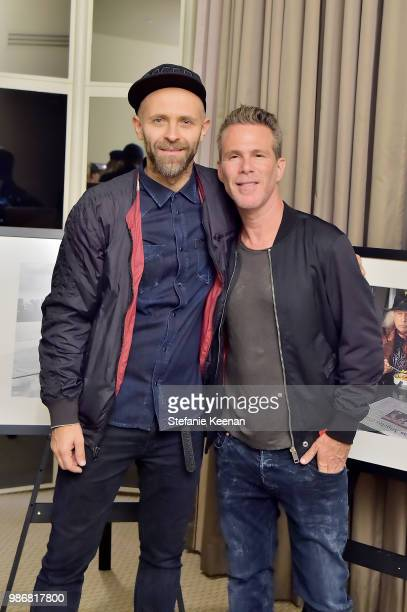 Stefano Rosso and Scott Lipps attend Diesel Presents Scott Lipps Photography Exhibition 'Rocks Not Dead' at Sunset Tower on June 28 2018 in Los...