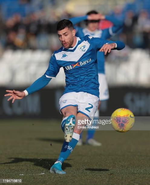 Stefano Sabelli of Brescia Calcio kicks the ball during the Serie A match between Brescia Calcio and Cagliari Calcio at Stadio Mario Rigamonti on...