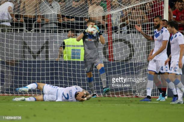 Stefano Sabelli of Brescia injured during the Serie A match between Cagliari Calcio and Brescia Calcio at Sardegna Arena on August 25 2019 in...