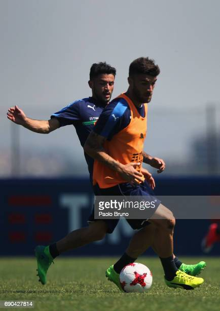 Stefano Sensi and Gaetano Monachello of Italy U21 in action during the Italy U21 training session at Mancini sport center on May 31 2017 in Rome Italy