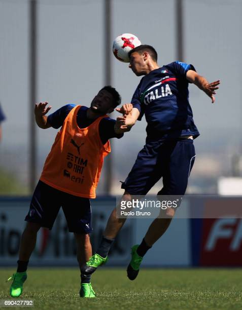 Stefano Sensi and Luca Mazzitelli of Italy U21 in action during the Italy U21 training session at Mancini sport center on May 31 2017 in Rome Italy