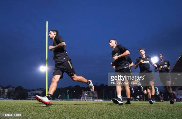 Stefano Sensi and Nicolo Barella of FC Internazionale in action during a FC Internazionale training session on July 17 2019 in Singapore Singapore
