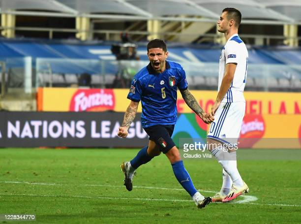 Stefano Sensi of FC Internazionale celebrates after scoring the first goal during the UEFA Nations League group stage match between Italy and Bosnia...
