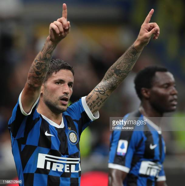 Stefano Sensi of FC Internazionale celebrates after scoring the opening goal during the Serie A match between FC Internazionale and Udinese Calcio at...