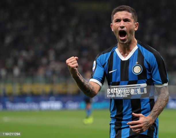 Stefano Sensi of FC Internazionale celebrates his goal during the Serie A match between FC Internazionale and US Lecce at Stadio Giuseppe Meazza on...